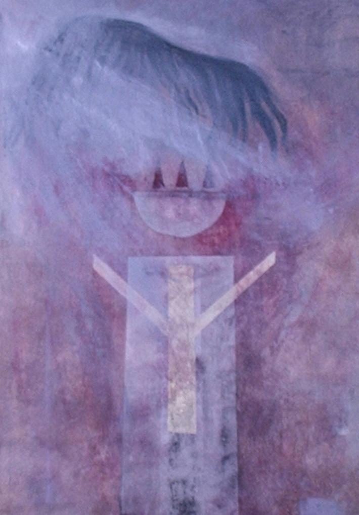 """Vinge/offerskål"", acrylmaleri på lerret"