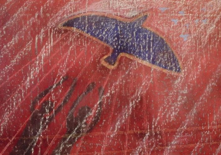 """""""Frihetens fugl"""", tegning i kull og pastell"""