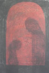 Overmakt, Format: 70x50 cm, Materiale: kull og pastell.